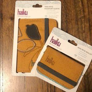 Haiku RFID mini wallet and passport sleeve